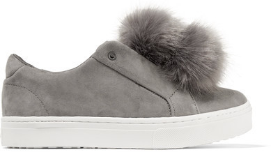 dce1a5dfe83b ... Sam Edelman Leya Faux Fur Embellished Suede Slip On Sneakers Gray ...