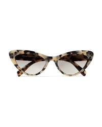 Miu Miu Cat Eye Crystal Embellished Tortoiseshell Acetate Sunglasses