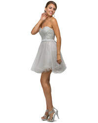 Grey Embellished Tulle Party Dress