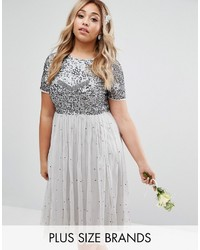 Lovedrobe luxe cap sleeve floral embellished dress with tulle midi skirt medium 5025707