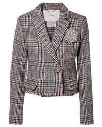 Adam Lippes Cropped Embellished Harris Tweed Blazer