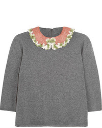 Valentino Embellished Wool And Cashmere Blend Sweater Gray