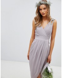 TFNC Wrap Midi Bridesmaid Dress With Embellished Shoulder In Grey