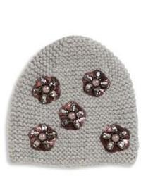 Jennifer Behr Mod Flower Embroidered Wool Beanie