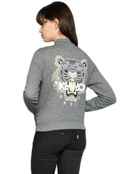 Grey Embroidered Bomber Jacket