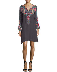 Johnny Was Tanyah Tie Neck Embroidered Dress W Slip Plus Size