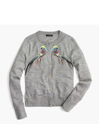 J.Crew Jackie Cardigan Sweater With Embroidered Pheasants