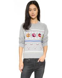 Grey Embroidered Crew-neck Sweater