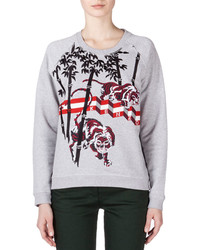 Kenzo Bamboo Tiger Embroidered Sweatshirt Pale Gray