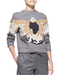 Valentino Embroidered Eagle Sweatshirt Gray