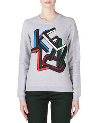 Kenzo Embroidered Sweatshirt Pale Gray