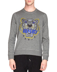 Kenzo Embroidered Tiger Icon Crewneck Sweatshirt Gray