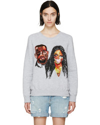 Ashish Grey Sequinned Kimye Sweatshirt