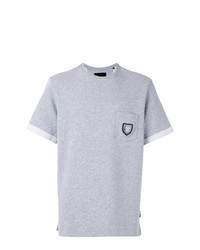 Grey Embroidered Crew-neck T-shirt