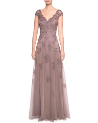 La Femme Tulle Lace Evening Dress