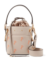 Chloé Roy Mini Embroidered Textured Leather Bucket Bag