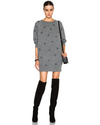 Saint Laurent Star Embroidered Sweater Dress