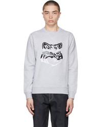 MAISON KITSUNÉ Grey Big Fox Embroidery Sweatshirt