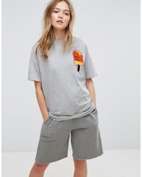 Asos X Lot Stock Barrel T Shirt With Embroidery In Gray