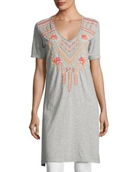 Johnny Was Jwla For Side Slit Embroidered Jersey Tunic Gray