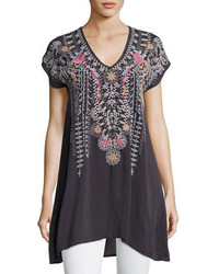 Johnny Was Karineh V Neck Embroidered Tunic