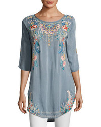 Johnny Was Sindri Georgette Long Embroidered Tunic Top