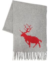 DSQUARED2 Deer Embroidered Wool Cashmere Scarf