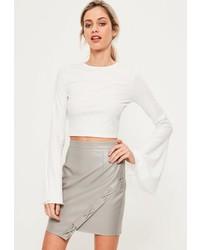 Missguided Grey Faux Leather Asymmetric Eyelet Detail Mini Skirt