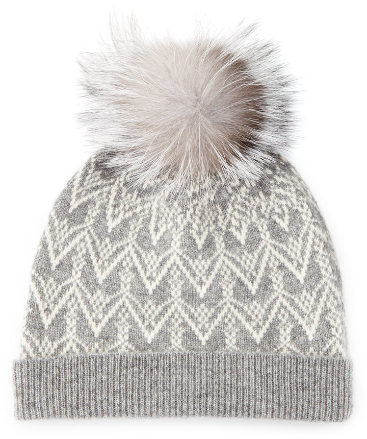 Sofia Cashmere Cashmere Fair Isle Knit Hat With Fur Pom | Where to ...