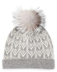 Sofia Cashmere Cashmere Fair Isle Knit Hat With Fur Pom