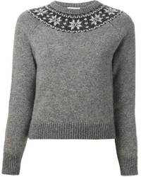 Grey Fair Isle Crew-neck Sweaters for Women | Women's Fashion