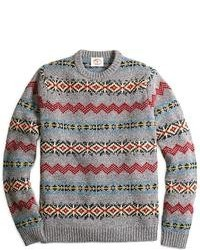 Grey Fair Isle Crew-neck Sweater