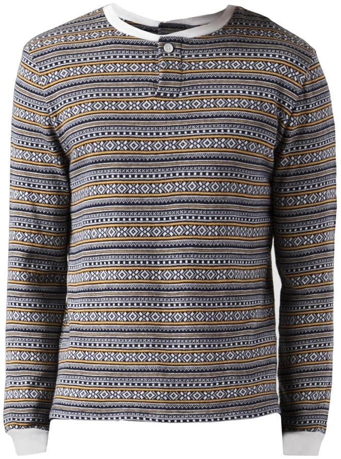 Band Of Outsiders Fair Isle Knit Henley