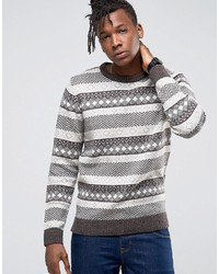 Selected Homme Crew Neck Knit In Fairisle Detail