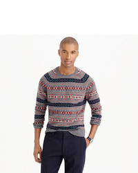 Lambswool fair isle sweater in grey medium 403777