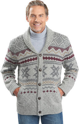 Woolrich Ultra Line Fair Isle Cardigan Sweater Gray Heather ...
