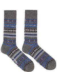 Grey Fair Isle Socks