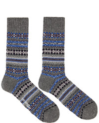 Junya Watanabe Grey Blue Pattern Socks