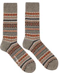 Junya Watanabe Grey Orange Pattern Socks