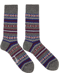 Junya Watanabe Grey Purple Pattern Socks