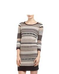 Neiman Marcus Fair Isle Stripe Sweater Dress