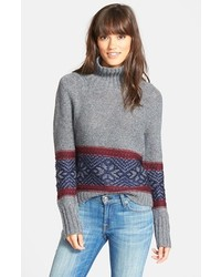 Treasurebond fair isle funnel neck sweater medium 126581