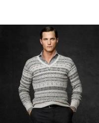 Grey Fair Isle V-neck Sweater