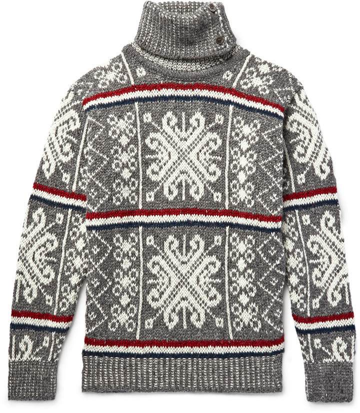 Thom Browne Fair Isle Wool And Mohair Blend Rollneck Sweater ...