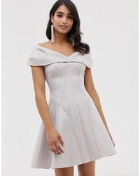 ASOS DESIGN Bonded Glitter Mini Skater Dress