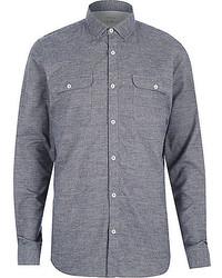 Grey brushed flannel two pocket shirt medium 388924