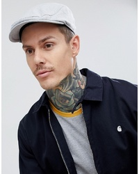 ASOS DESIGN Flat Cap In Grey With Delave Embroidery