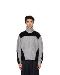 Gmbh Grey And Black Fleece Two Tone Jacket