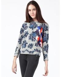Grey Floral Crew-neck Sweater