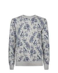 New look grey and blue floral crew neck sweater medium 446275